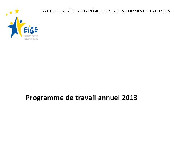 2013 Annual Work Programme of the European Institute for Gender Equality